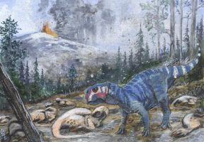Eternally sleeping dragons by tuomaskoivurinne  As the volcanic ash gently falls down from the skies, Psittacosaurus major stumbles on the hillside, where a group of Mei long, now dead, spent the previous night.