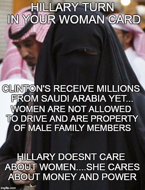 If you think Hillary Clinton cares about woman you're wrong. Look who gives her millions and how they treat woman.