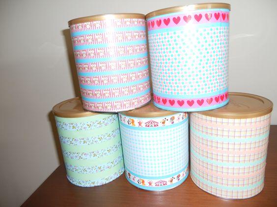 Botes de leche para bebes decorados con washi tape. Pueden ...