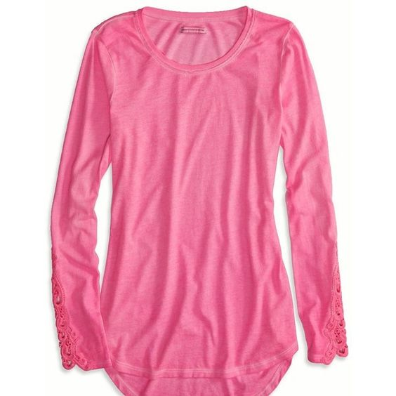 American Eagle Factory Lace Sleeve T-Shirt, Women's, Wild Neon ...