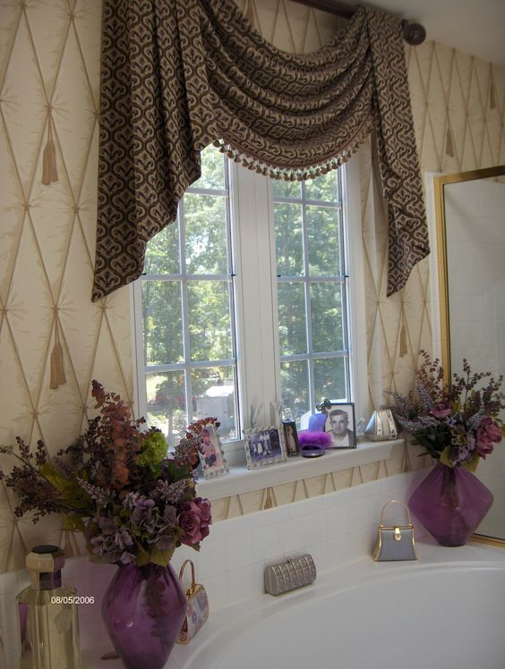 Master bathroom window treatment for the future home for Bathroom curtains window treatments