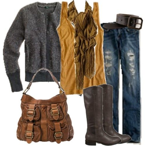 brown, grey, mustard and jeans