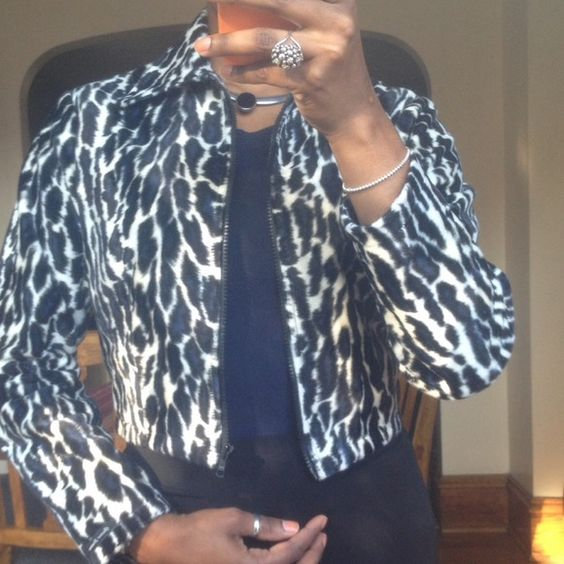 """Navy Blue Animal Print Jacket Very unique design! Beautiful navy blue animal print waist length jacket. Completely lined...arm length about 22"""". Any ?s...lmk :) No flaws! Guess Jackets & Coats"""