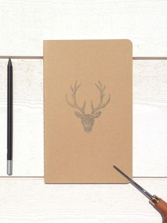 "Carnet MOLESKINE ""tête de cerf"" notebook, papeterie, illustration cerf et wild, craft papier"