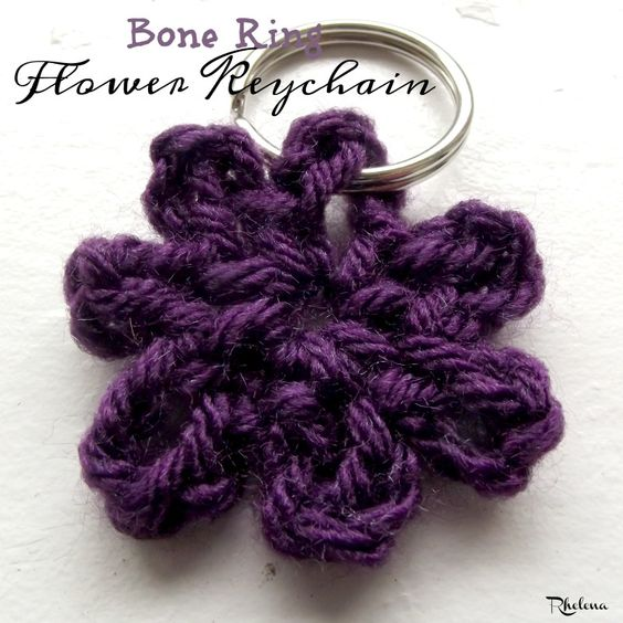 Bone Ring Flower Keychain ~ FREE Crochet Pattern Flowers ...