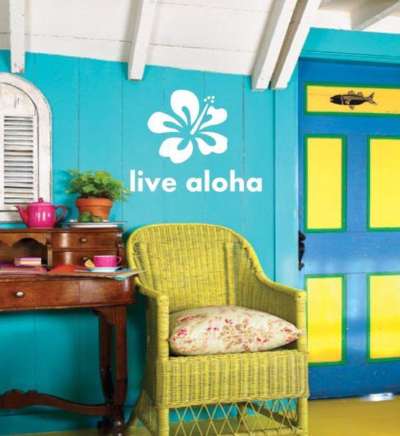 Hawaiian Hibiscus Live aloha Saying Vinyl wall art by 3rdAveShore