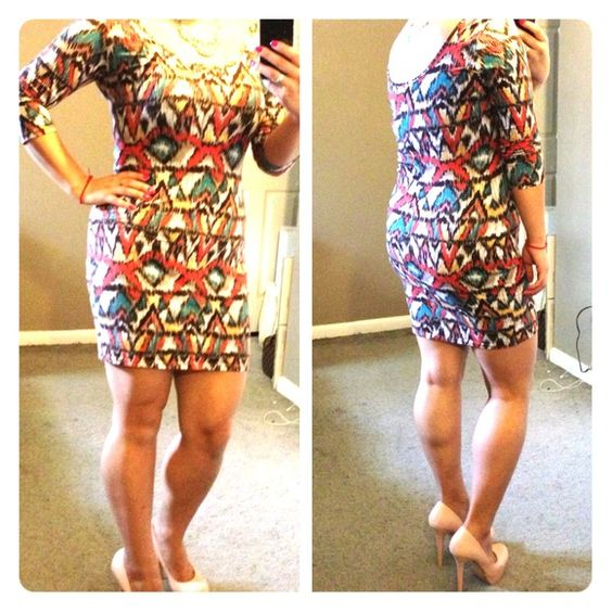 Bodycon dress Super cute indie print dress!  Scoop neck perfect for a statement necklace.  Can be dressed up or down. Made of stretchy material. Dresses