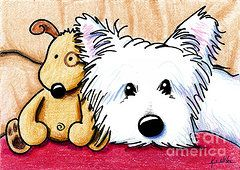 West Highland Terriers Art - Ditto And Pudge by Kim Niles