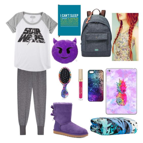 """Sleepover"" by maggiebay ❤ liked on Polyvore featuring Clu, Hybrid, FOSSIL, Casetify, Stila, Vera Bradley, The Wet Brush, UGG Australia, Knock Knock and women's clothing"