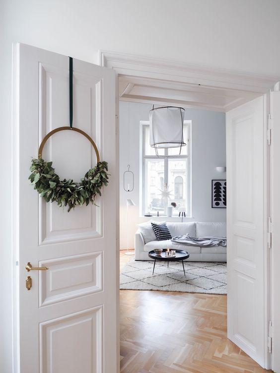christmas wreath / brass circle wreath / brass ring / eukalyptus wreath / cooee wreath