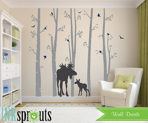 Birch Forest Decal with Moose,5 Birch decal, birch tree set, Moose baby, Modern Nursery, Nursery decals, Baby Decals, Woodland theme, aspen