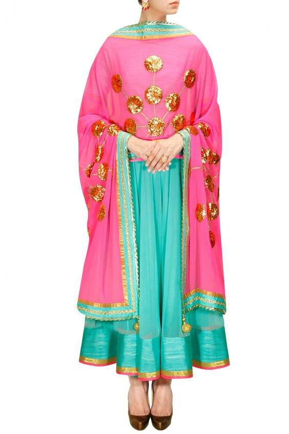 Turquoise and hot pink gota work anarkali set by Cita 9