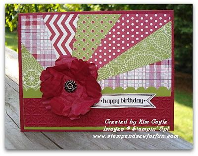 Sunburst Technique - Stamp and Sew For Fun: Stampin' Up! Card