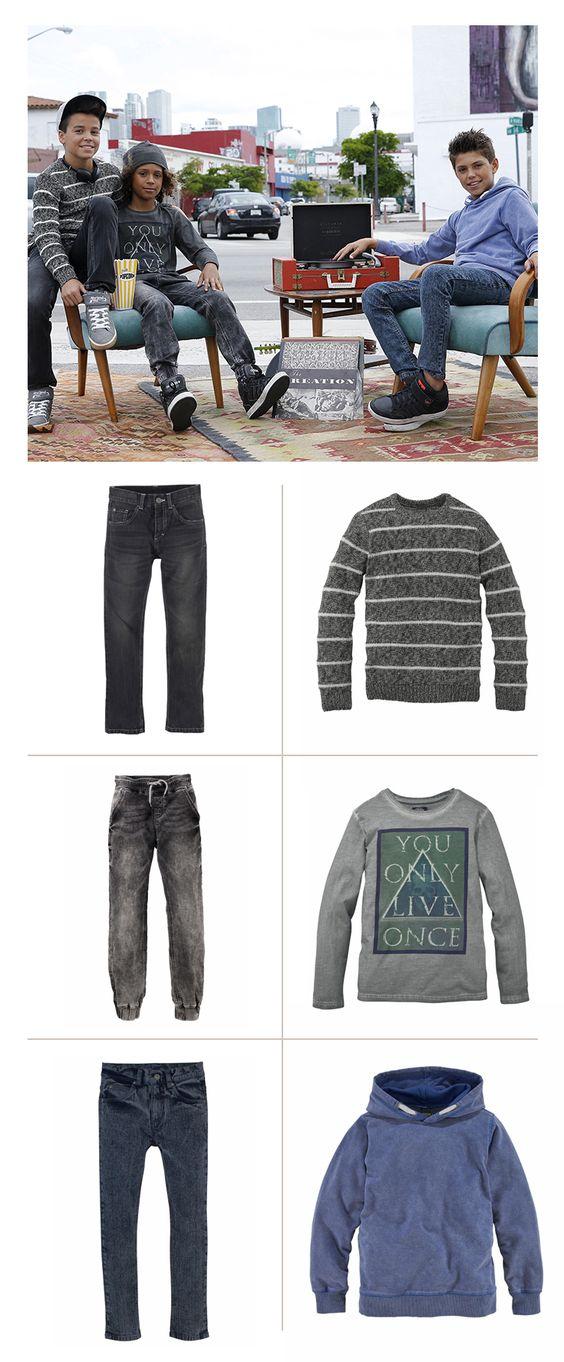 Mit dem Board zur Schule, am Nachmittag eine Session im Park und Abends zu den Freunden rollen: Wer viel unterwegs ist, braucht eine Jeans die perfekt sitzt und einiges ab kann. Die Stretchjeans garantiert beste Bequemlichkeit – und besticht dank verschiedener Designs mit einer coolen Optik.