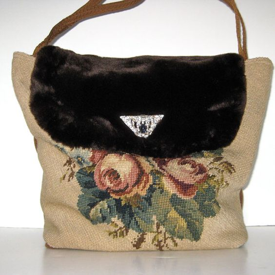 Hand Bag  Purse  Fall  Winter  Handmade   Vintage by JackieSpicer, $60.00