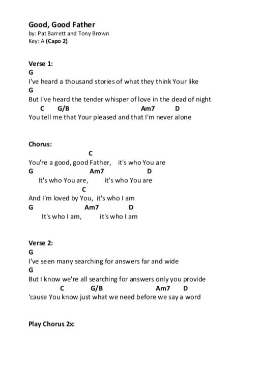 Good Good Father Chords Page 1 With Images Christian Ukulele