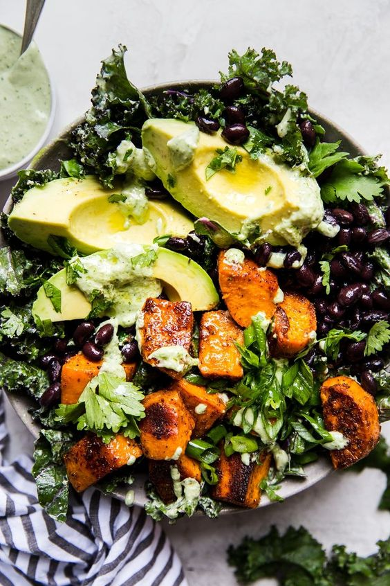 Vegan Roasted Sweet Potato Salad w/Cashew Dressing