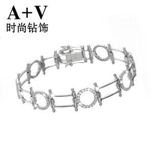 A+V18K白金钻石手链手镯欧美大牌名贵奢华手表链结婚用专柜正品