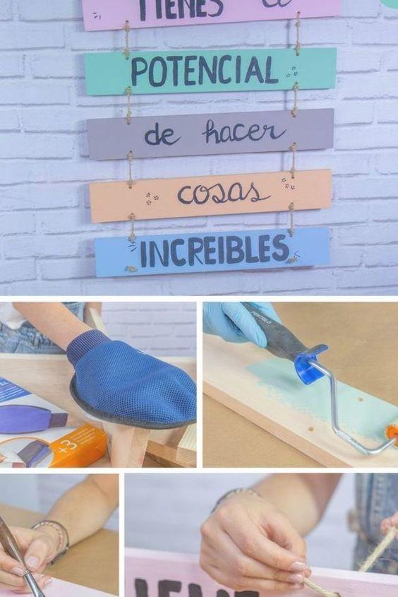 Carteles decorativos ➜ Pinta y une listones de madera para hacer tus propios carteles decorativos con un aire vintage molón. #DIY #Decoración #Handfie