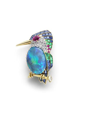 A gem-set and diamond kingfisher brooch, by Cartier,                                                                                                                                                      More