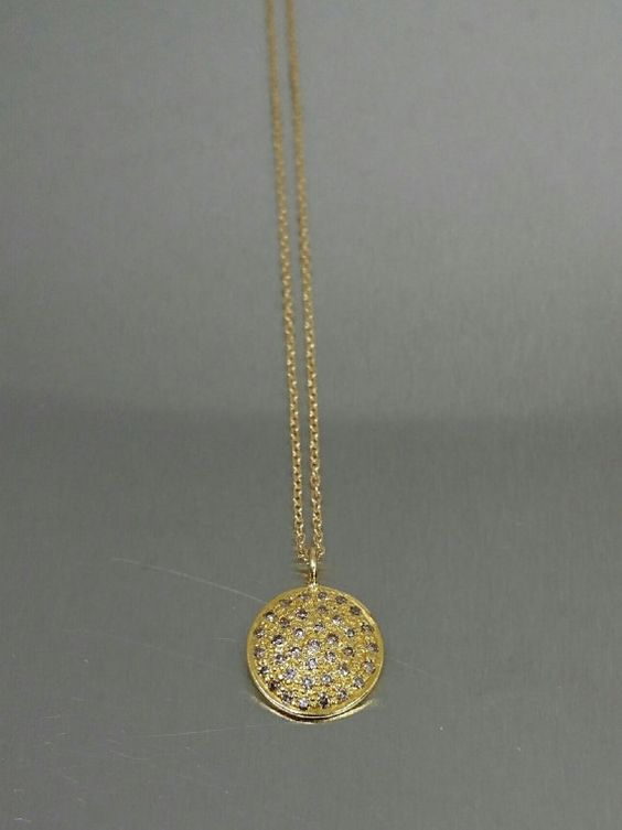14 Karat Yellow Gold Champagne Diamond Disc Pendant (0.32ct)