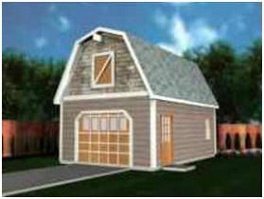 Barn Style Gambrel Roof One Car Garage Plans Shedplans Garage Plans With Loft Garage Plans Barn Garage