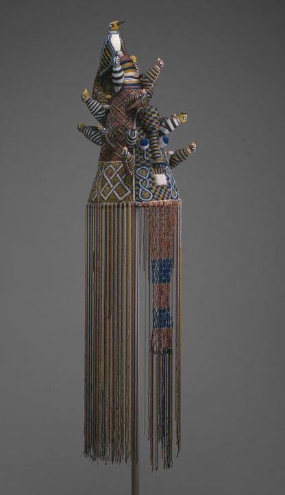 Africa   Crown (Ade). Yoruba Idowa, Ijebu region, Nigeria   Owned by the dagburewe (king) of Idowa   Late 19th/mid-20th century   Glass beads, fabric, thread, and copper alloy
