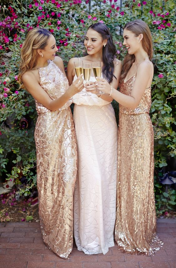 Blush and rose gold sequin dresses by Donna Morgan: rent the Tiffany, Olive and Courtney dresses with Vow To Be Chic! Discover more bridesmaid dresses to rent at vowtobechic.com: