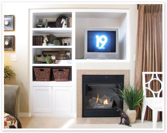 shelves around tv built in shelves and built ins on pinterest. Black Bedroom Furniture Sets. Home Design Ideas