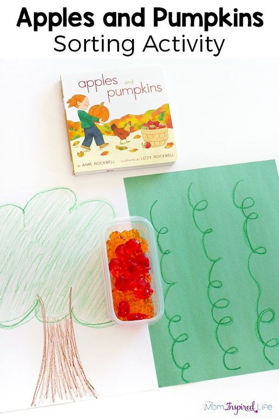 This apples and pumpkins sorting activity is perfect for fall and a great way for toddlers and preschoolers to work on this important math skill.