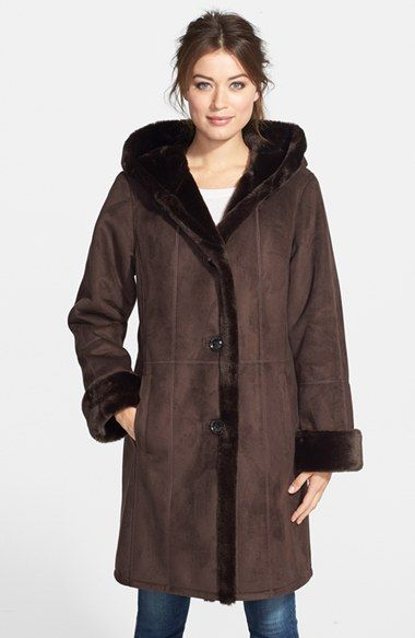 Gallery Hooded Long Faux Shearling Coat (Online Only) available at ...