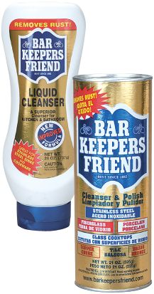 Cleans grout, tile, stainless pots & pans, oven (inside & out), glass (including windows & soap scum off shower doors), car rims & mufflers, only thing it can't be used on is marble.  Very little scrubbing & it cost  less than 2 bucks!!  When vinegar & baking soda won't work this stuff definately will!