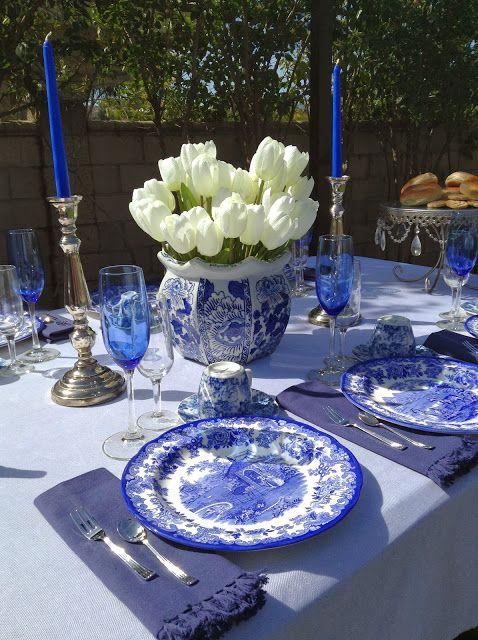 Lovely Vintage Blue White China Pinterest Table