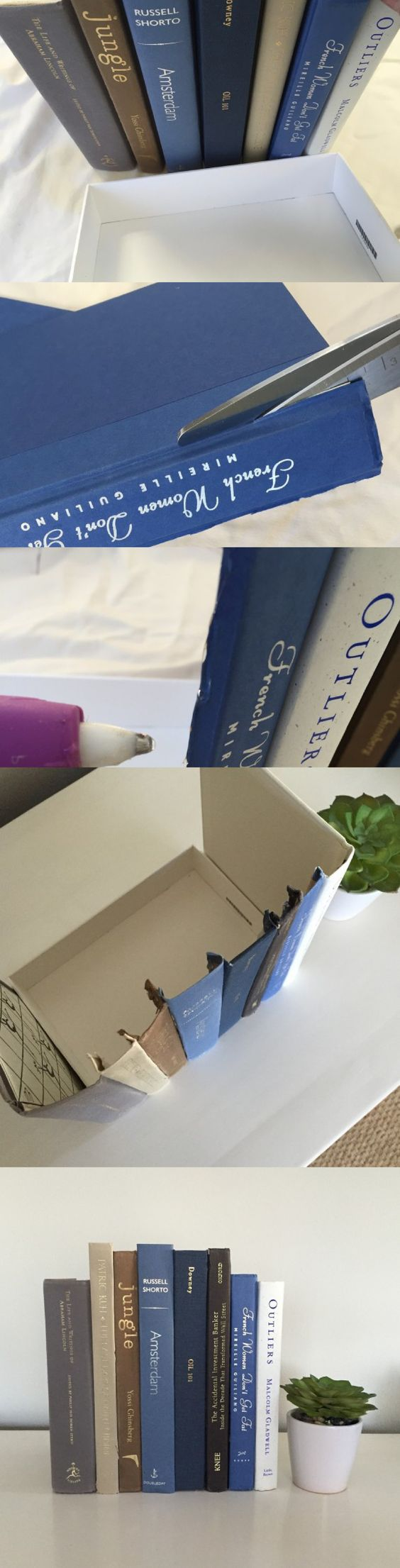 A Clever Way to Hide Clutter: Behind Fake Books!   Martha Stewart Living - Are you looking for a way to hide wires, a router, or maybe your remotes? Hide your clutter in plain sight behind these DIY fake books. Even better, they are easy (and inexpensive!: