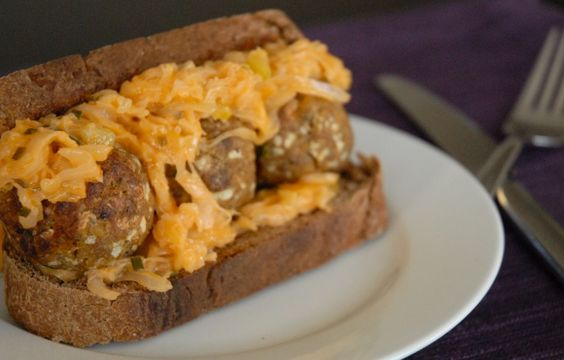 Reuben Meatball Sandwich.  It's like Chris's 2 favorite sandwiches got together and had a baby.