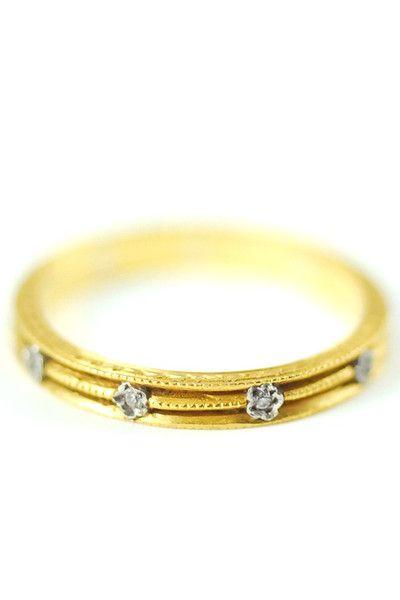 Cathy Waterman 22k Gold 3-Row Milgrain Ring w/ Platinum & Diamond Flowers
