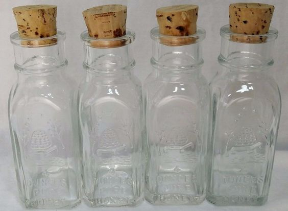 ONE Vintage Honey Jar 4 oz Glass Pure Acres Embossed Beehive Cork Stoppers *et