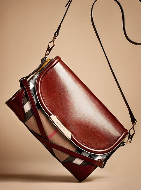 Elegant crossbody bag in House check and bridle leather from the Burberry A/W13 accessories collection