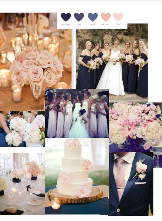 Navy blush wedding