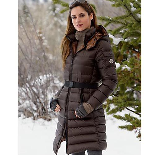 Most Wanted Moncler Women Mokacine Long Down Parkas Brown Jackets ...