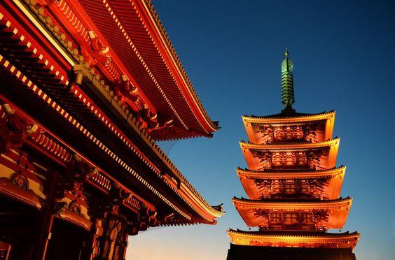 Sensō-ji Temple at night.