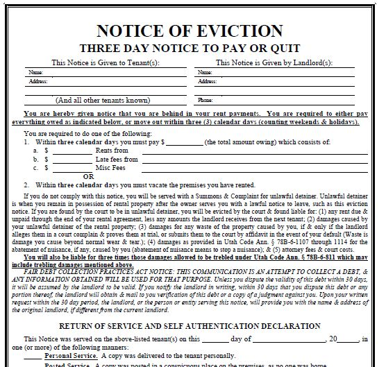 Printable Sample 3 Day Eviction Notice Form | Real Estate Forms ...
