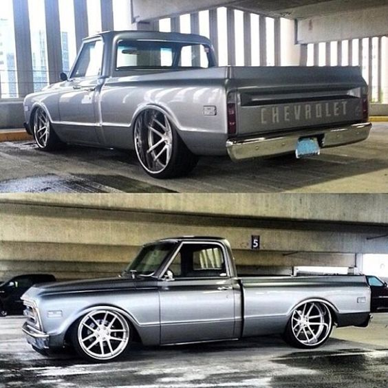 67 C10 chevy truck slammed grey brushed wheels concave. rotiform wheels SNA
