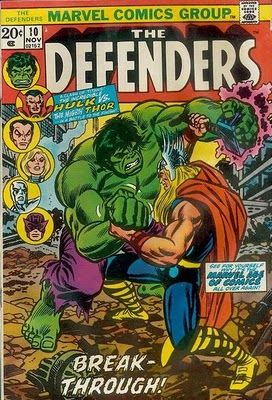 It's the Hulk vs Thor in The Defenders #10.