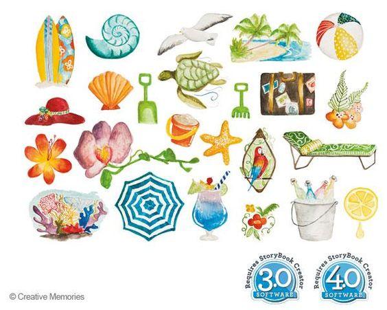 Classic Beach Digital Embellishments for PC from Creative Memories  #digitalscrapbooking    http://www.creativememories.com