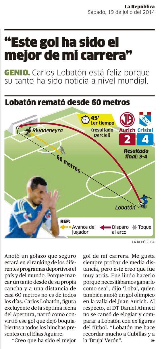 Lobatón y su gol de media cancha