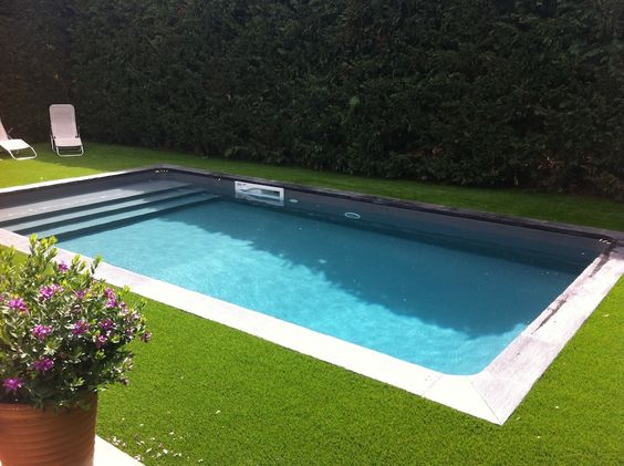 Liner gris clair piscine pinterest for Piscine avec liner beige