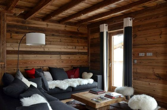 Chalets salons and design de chalet on pinterest - Canape style montagne ...