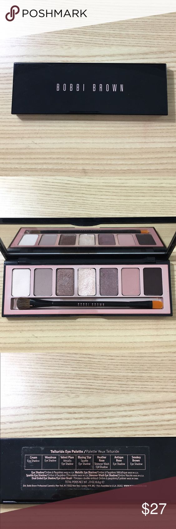 Bobbi Brown Telluride Eye Palette This is a gorgeous palette, I used this palette a few times. I have disinfected it,  never used the brush, and cleaned the brush for good measure. No box. No trade. Bobbi Brown Makeup Eyeshadow