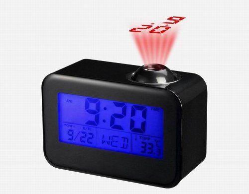 réveil projecteur horloge Led date température 10 langue clock neuf NOIR